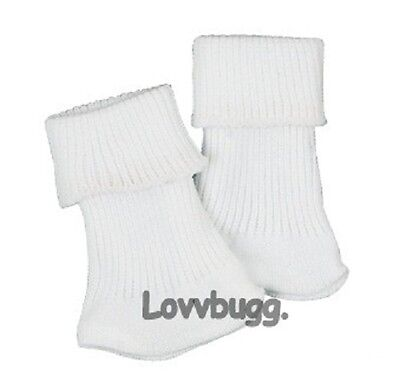 "Lovvbugg White Socks for 15"" - 18' American Girl Doll Clothes or Preemie Bitty Baby"