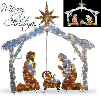 "Christmas Outdoor Nativity Scene 72"" Crystal Yard Holiday LED Light Decoration"