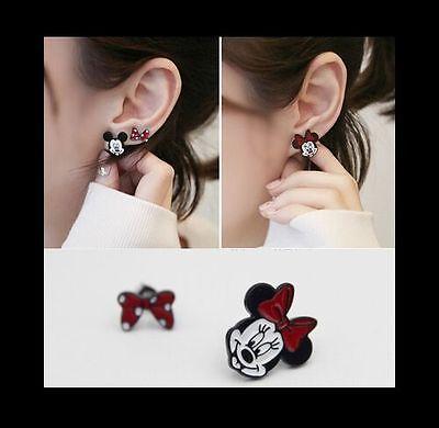 Minnie Mouse & Bow Unbalanced Enamel Clip on Stud Earrings for Non-pierced Ears