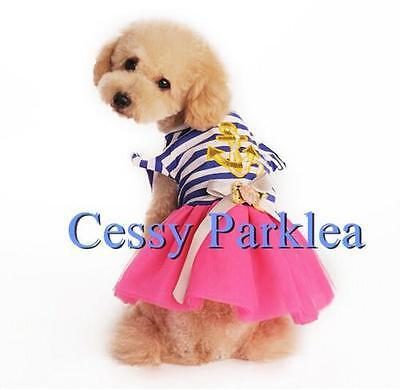 Cute Pet Dog  Puppy Cat Blue Hot Pink Sailor Girl Costume XS-XL - Cute Girl Dog Costumes