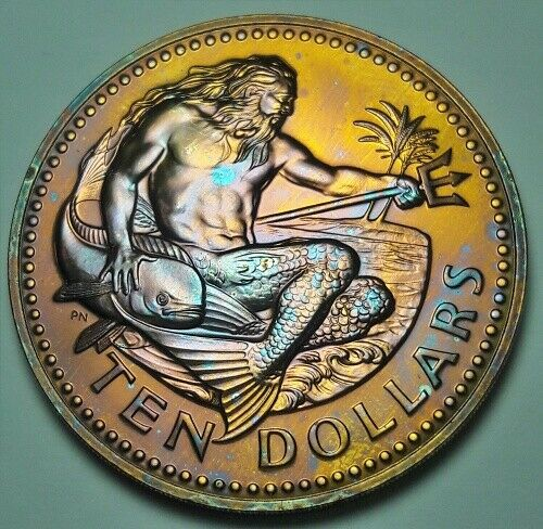 1980 BARBADOS 10 SILVER DOLLARS BU UNC COLORFULLY TONED COIN  #21