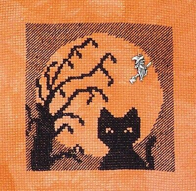 Halloween Cat Silhouette Pattern (15% Off Handblessings X-stitch chart-Halloween Silhouette 2014-Cat in the)
