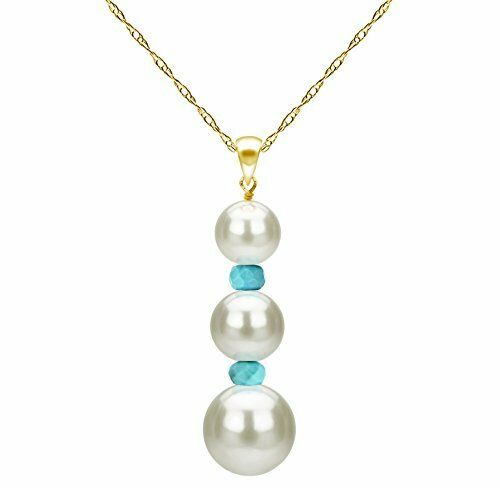7b709edbe0a92 Details about Pendant Necklace 14k Yellow Gold Freshwater White Pearl and  Simulated Aquamarine