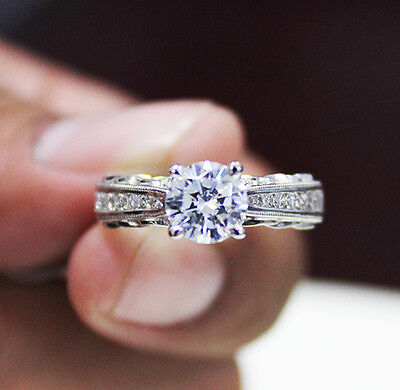 3.50 Ct. Natural Round Cut Scroll Design Pave Diamond Engagement Ring - GIA
