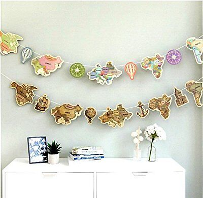 World Travel Theme Map Banner Garland Party Adventure Farewell Banner Home Decor - Farewell Party Supplies