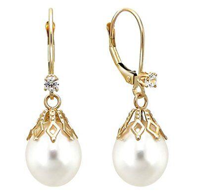 Pearl Earrings 14k Yellow Gold Leverback .10cttw diamond 9-1