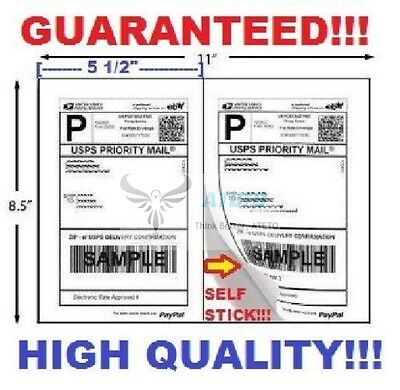 Premium Self Adhesive Paypal Mailing Shipping Labels 8.5x5.5 Usps Ups Fedex