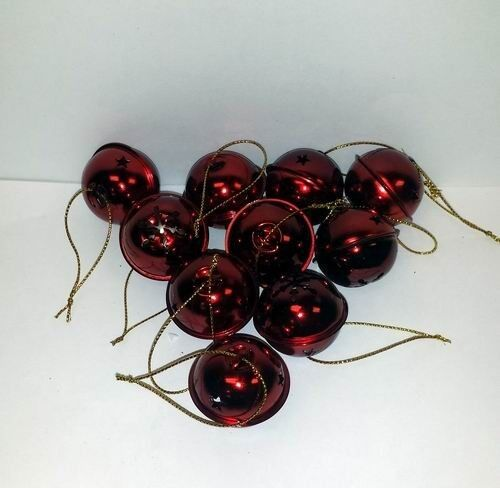 """Lot of 48 Pieces - Red Shiny 1.25"""" Jingle Bell Ornaments + FREE SHIPPING!"""