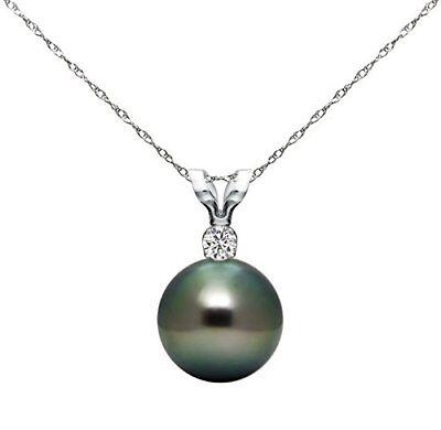 Pearl 14k White Gold Pendant .05ctw Diamond & 10-11mm Black