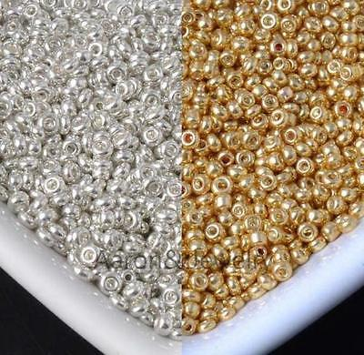 1200pcs gold and silver czech glass seed