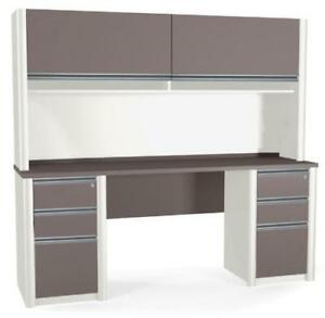 Bestar Connexion Credenza Office Desk w/ Hutch and Pedestals - BRAND NEW - FREE SHIPPING