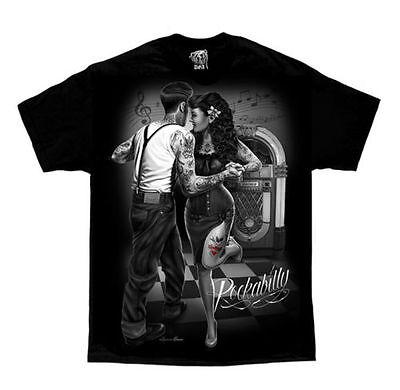 DGA DAVID GONZALES ROCKABILLY 1950'S GREASER JUKEBOX GANGSTER TATTOO T - 1950s Gangster