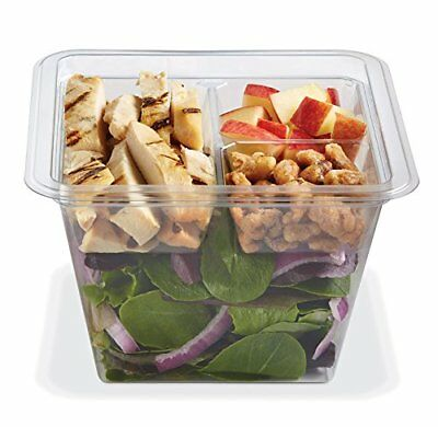 Gocubes 36 Oz Pet Container With 3-comp Clear Insert And Clear Lid 50 Sets