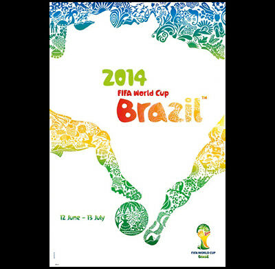 FIFA World Cup 2014 Brazil Soccer Football OFFICIAL FULL-SIZED EVENT POSTER
