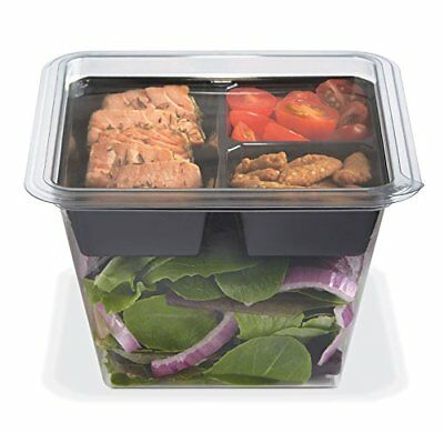 Gocubes 36 Oz Pet Container With 3-comp Black Insert And Clear Lid 50 Sets