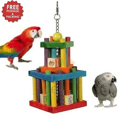 HAPPYPET BUILDING BLOCK MAZE COLOURFUL WOODEN LARGE PARROT CAGE TOY MACAW GREY