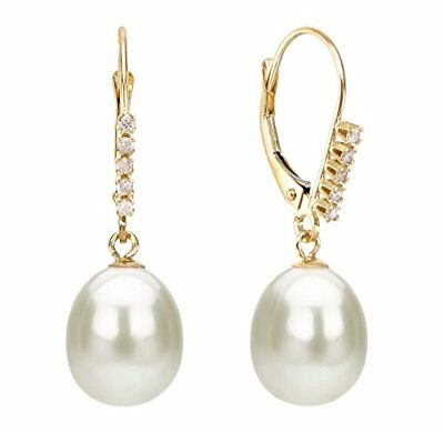 Pearl 14K Yellow Gold Earrings 9-10mm White Freshwater Lever