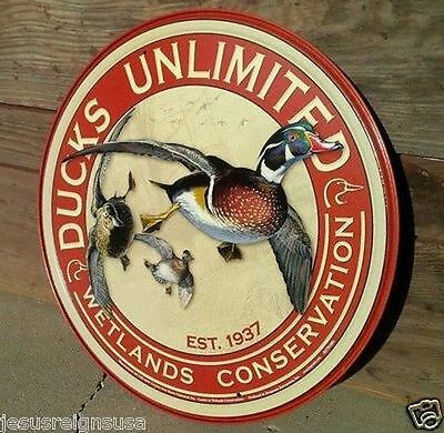 DUCKS UNLIMITED TIN HUNTING SIGN Wall Bar Garage Decor Classic Vintage