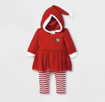 Cat and Jack Baby Girl Christmas Red Stripes Tutu Outfit Santa Elf Hat/Hood CUTE - Santa Elf Outfit