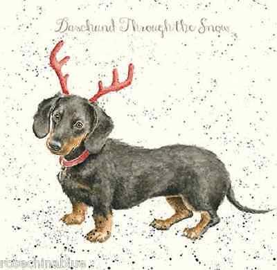 Wrendale Designs Christmas Card NEW Daschund dog antlers through the snow