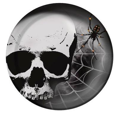 HALLOWEEN Skull Terror LARGE PAPER PLATES (8) ~ Birthday Party Supplies Dinner - Skull Paper Plates