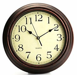 Large Classic Quartz Wall Clock 12 Inch Round Wood Frame Quiet Office Classroom