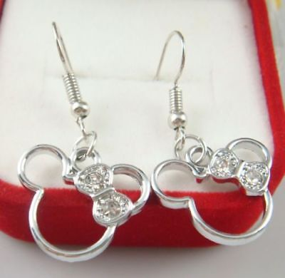 Cute New Minnie Mouse w/Crystal Bow 925 Silver Plated Hook Charm Dangle Earrings