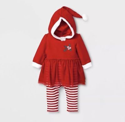 NWT Cat & Jack Baby Girl Christmas Outfit 0-3 Months Santa Hat
