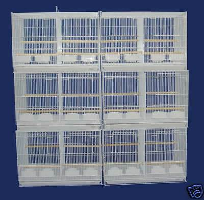 Lot of 6 Aviary Bird Cages 24x16x16 With Divider -- 2434 White - 172