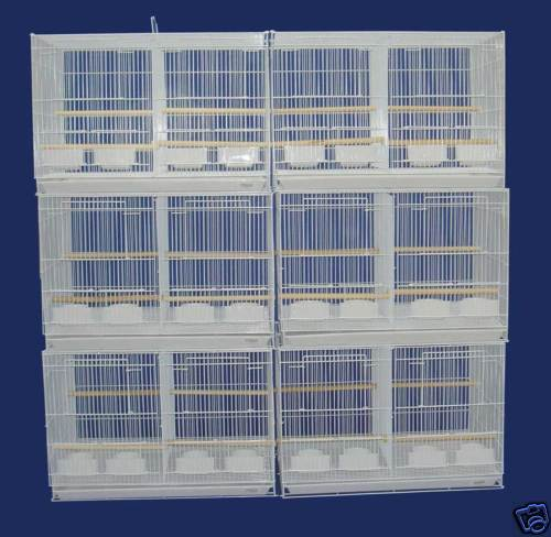 "Lot of 6 Center Divider Aviaries Canaries Budgies Flight Bird Cages 24x16x16""H"