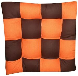 6 coussins galette dessus de chaise marron orange ebay. Black Bedroom Furniture Sets. Home Design Ideas