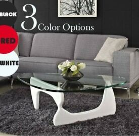 Coffee table brand new oval modern design Black/white/Red