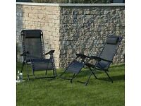 Brand new and Sealed - Helsinki Set of 2 Black Zero Gravity Loungers Garden Chairs Foldable