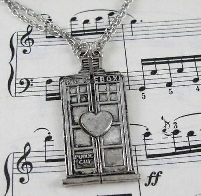USA 2pcs DR Doctor Who Necklace Set Tardis Couple Jewelry Friendship Best