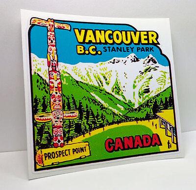Vancouver B.C. Stanley Park Canada Vintage Style Travel Decal / Vinyl Sticker