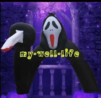 Popular Scary Ghost Holding A Knife Inflatable Arch for Halloween Decoration b