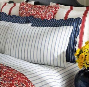 Pair of Ralph Lauren Villa Martine Blue & Cream Bar Stripe KING Pillowcases