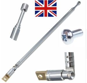 Telescopic antenna replacement aerial 63cm long 4 section AM FM Radio - UK Selle
