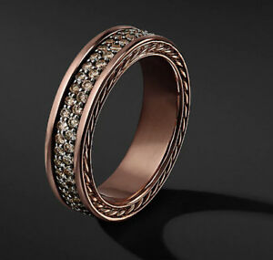 David Yurman Inspired Mens TWO ROW PAVÉ BAND IN 14K ROSE GOLD
