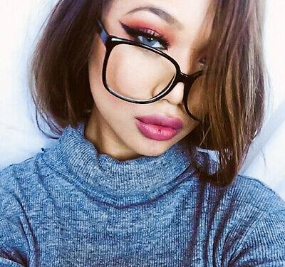 Square Fashion ELLA Thin BLACK Frames Clear Lens Sexy Women