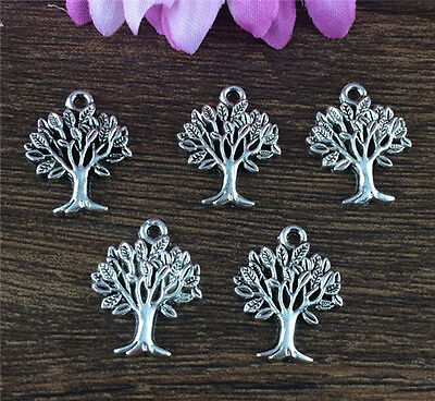 Wholesale 10Pcs Tibet Silver Tree Charm Pendant Beaded Jewelry Findings Diy