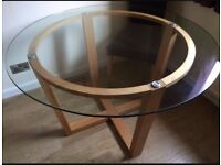 John Lewis Genie dining table & sideboard oak glass top, hardly used. Excellent condition.
