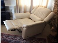 Cream leather recliner chair.