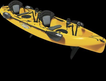 YELLOW HOBIE MIRAGE DRIVE OUTFITTER FISHING KAYAK Glass House Mountains Caloundra Area Preview