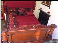Antique mahogany half tester bed