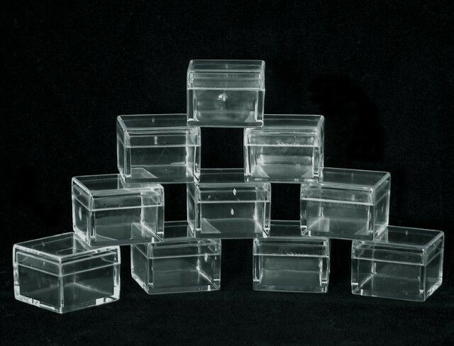 SQUARE CLEAR ACRYLIC GEM BOXES 10 QTY