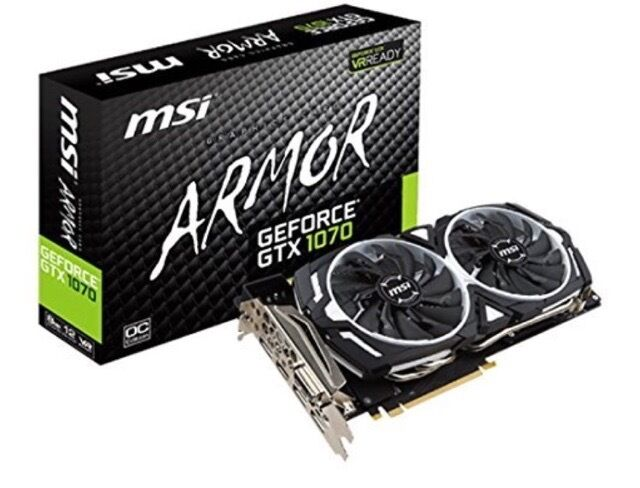 GeForce GTX 1070 8G OC 8 GB GDDR5 256bit 8.086GHz Graphics Card Sealedin Hodge Hill, West MidlandsGumtree - GeForce GTX 1070 8G OC 8 GB GDDR5 256bit 8.086GHz Graphics Card I bought this two months ago off Amazon brand new but didnt get a chance to build it. Been over 30 days, cant return it! BOX HAS NEVER BEEN OPENED. GeForce GTX 1070 ARMOR 8G OC. PCIE 3.0...