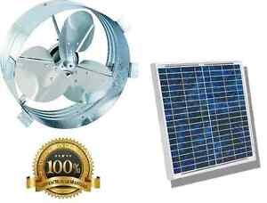 Solar Powered Panel Attic Exhaust Fan Vent Gable Mount Roof Ventilator