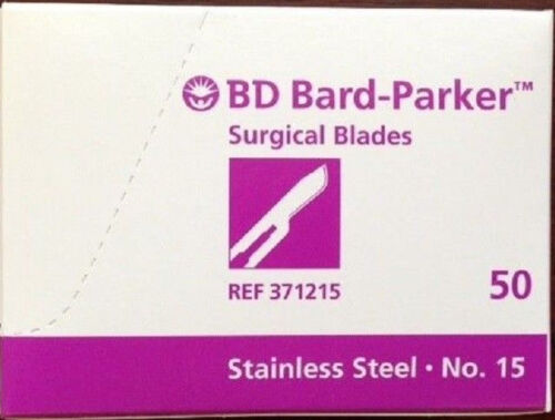 50 Bard-Parker 371215 Sterile Stainless Steel Surgical Blades, Sealed Box #15