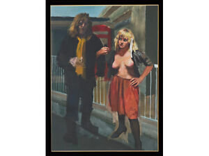 Robert Lenkiewicz and Daughter Alice Large Original Oil on Canvas
